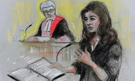 Court artist sketch of Nigella Lawson