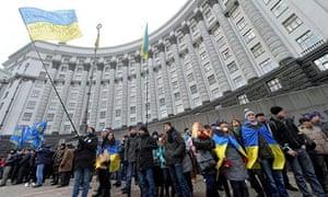 Pro-European protesters in Kiev, Ukraine
