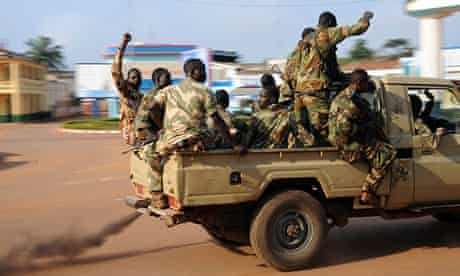 Soldiers patrol streets of Bangui in the Central African Republic