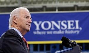U.S. Vice President Joe Biden delivers a speech at Yonsei University in Seoul, South Korea,