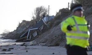 Hemsby: a chalet home that collapsed into the sea under a tidal surge.