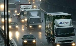 Traffic in heavy rain on the M6 through Birmingham