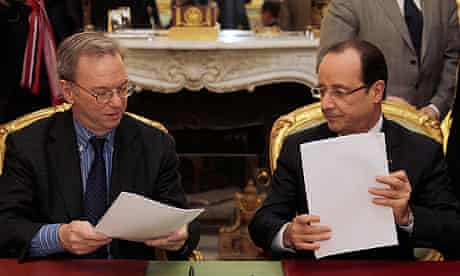 Google's Eric Schmidt and French president Francois Hollande