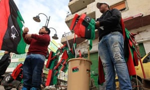 Vendors sell Libyan flags in Benghazi