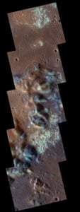 Enhanced-color close-up of hollows on Mercury