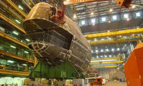 Work on a section of the first Astute class submarine