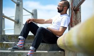 Nic Haralambous models socks from his NicSocks line