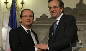French president François Hollande with Greek PM  Minister Antonis Samaras in Athens