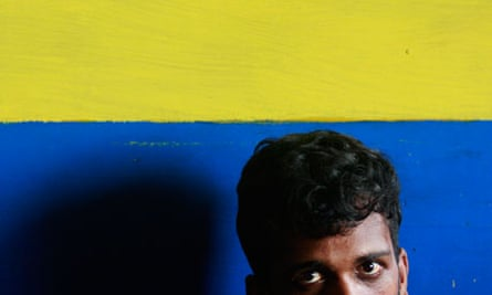 A would-be illegal asylum seeker from Sri Lanka attempting to sail to Australia illegally by boat
