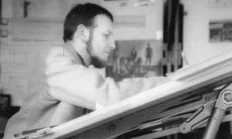 George Finch at a drawing table