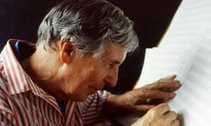 Sir Michael Tippett composing in 1992