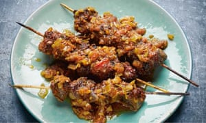 Yotam Ottolenghi's saffron and chilli lamb skewers