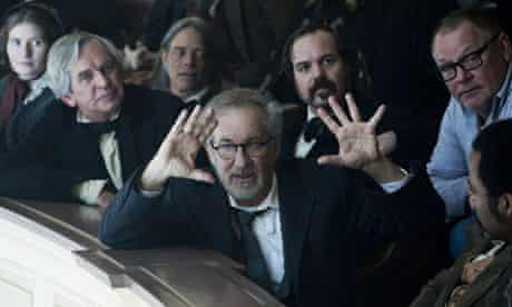 Steven Spielberg on the set of Lincoln