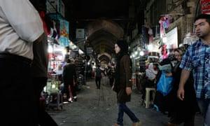 Iranians shop at Tehran's old main bazaar
