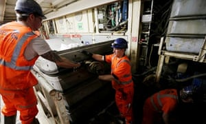Workers at Crossrail's tunnel in west London