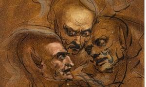 Study of Three Satyrs Heads by John Runciman