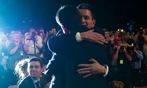 David Miliband hugs Ed Miliband, 2010