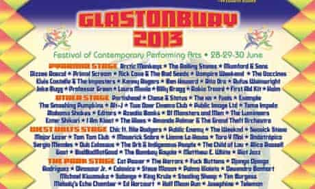 The low-tech Glastonbury announcement from its website