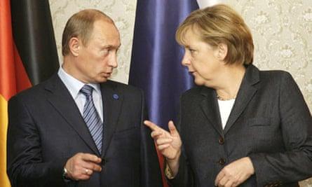 Russian President Vladimir Putin and the German chancellor, Angela Merkel