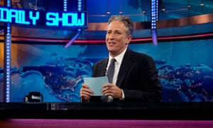 Jon Stewart on the set of The Daily Show