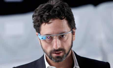 Google's Sergey Brin wearing Google Glass at New York fashion week.