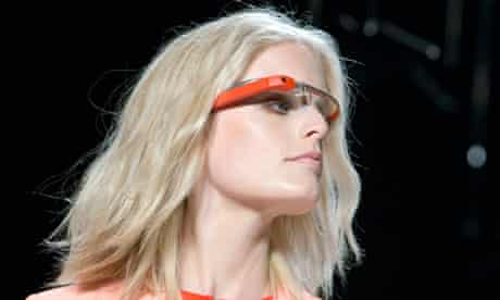 A model with Google Glass at New York fashion week.