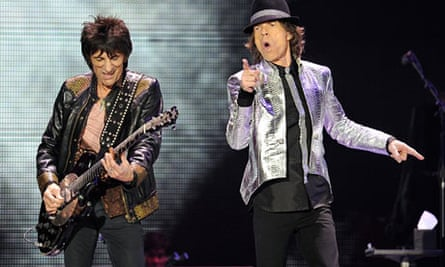 Ronnie Wood and Mick Jagger on stage at the 02 arena, London, in November 2012