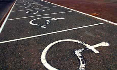 Empty disabled car parking spaces