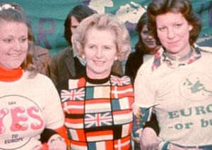 Margaret Thatcher MP, leader of the Conservative Opposition, at a pro-European rally