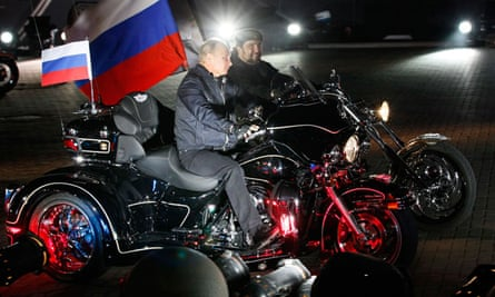 Vladimir Putin with the Night Wolves in Russia in 2011.