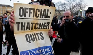 Brixton residents celebrate Thatcher's resignation in 1990.