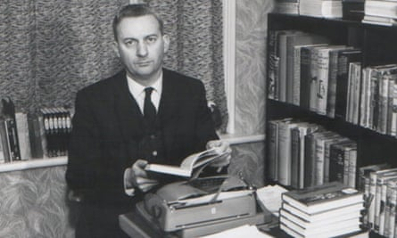 Writer Basil Copper at his desk, with typewriter