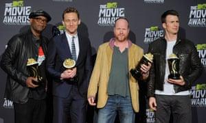 MTV awards The Avengers Samuel L Jackson, Chris Hiddleston, Joss Whedon, Chris Evans