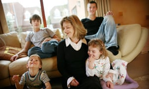 Mother at home with children