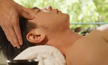 Man head massage at spa