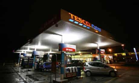 A Tesco petrol forecourt.