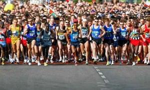 Athletes start the men's elite event in the London marathon.
