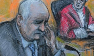 Court drawing of Mick Philpott in the witness box.