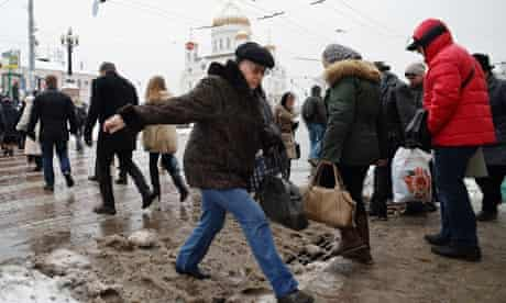 Moscow streets … not built for melting snow.
