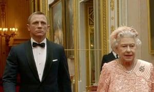 Daniel Craig as Bond and the Queen as the Queen
