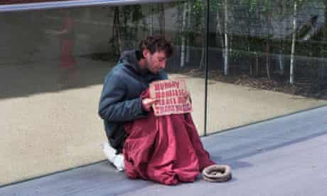 Homeless man in London.