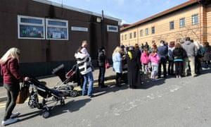 Measles queue Swansea