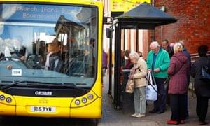 Pensioners boarding bus