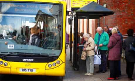 Pensioners boarding bus