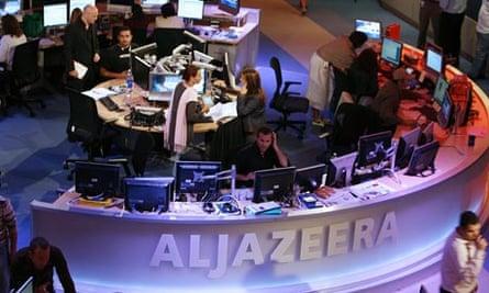 The newsroom at the headquarters of al-Jazeera, in  Qatar.