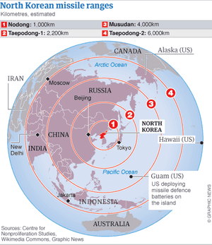North korea nuclear threats prompt us missile battery deployment map north korean missile defence ranges and guam deployment gumiabroncs Gallery