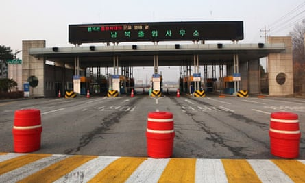 The roadblocks are raised at the entrance to Kaesong, on the South Korean side.
