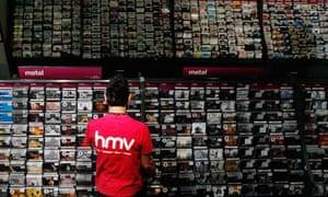 CDs in an HMV store on Oxford Street in London