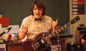 Jack Black with guitar in School of Rock