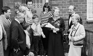 Margaret Thatcher with the Greater London Council's 12,000th council home buyer in 1980